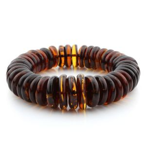 Adult Baltic Amber Bracelet Tablet Beads 19mm 45gr. MRC290