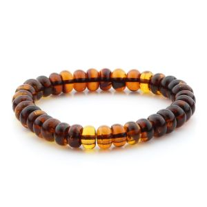 Adult Baltic Amber Bracelet Tablet Beads 9mm 10gr. MRC291