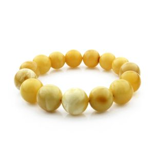 Adult Baltic Amber Bracelet Round Beads 15mm 23gr. RB28