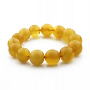 Adult Baltic Amber Bracelet Round Beads 15mm 22gr. RB33