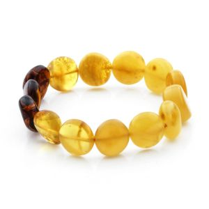 Adult Baltic Amber Bracelet Side Drill Beads 14mm 10gr. SD13