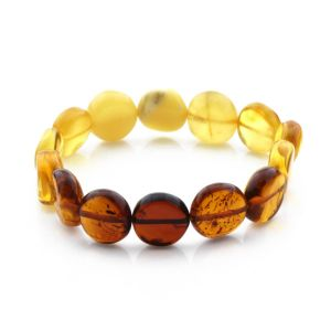 Adult Baltic Amber Bracelet Side Drill Beads 14mm 11gr. SD15