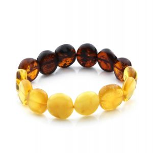 Adult Baltic Amber Bracelet Side Drill Beads 14mm 10gr. SD16