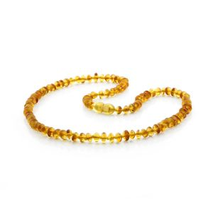 ADULT BALTIC AMBER NECKLACE. ROUNDEL LIGHT COGNAC 5X3 MM