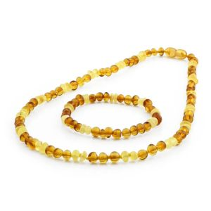 ADULT BALTIC AMBER NECKLACE & BRACELET SET. BAROQUE LIGHT COGNAC MILKY 5X4 MM