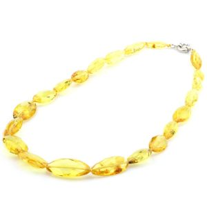 Natural Baltic Amber Necklace with 925 Sterling Silver Clasp Olive 27gr. FBR1