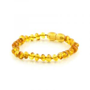 Baltic Amber Teething Bracelet. Baroque Light Cognac 5x4 mm