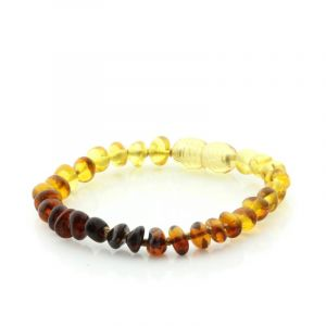 Baltic Amber Teething Bracelet. Baroque Rainbow V1 5x4 mm
