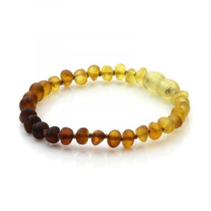 Semi Polished Baltic Amber Teething Bracelet. Baroque Rainbow V1 Matt 5x4 mm