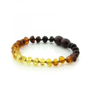 Baltic Amber Teething Bracelet. Baroque Rainbow V2 5x4 mm