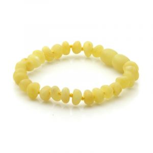 Semi Polished Baltic Amber Teething Bracelet. Baroque Milky Yellow Matt 5x4 mm