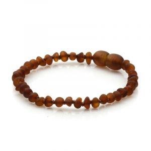 Semi Polished Baltic Amber Teething Bracelet. Baroque Cognac Matt 4x3 mm