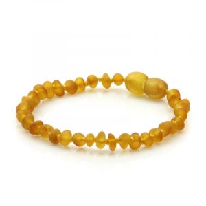 Semi Polished Baltic Amber Teething Bracelet. Baroque Light Cognac Matt 4x3 mm
