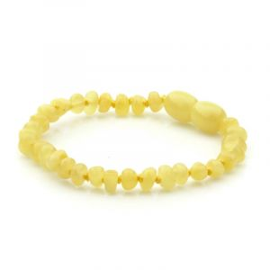 Baltic Amber Teething Bracelet. Baroque Milky Yellow 4x3 mm