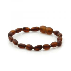 Semi Polished Baltic Amber Teething Bracelet. Olive Cognac Matt 5x4mm
