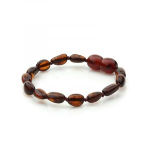 Baltic Amber Teething Bracelet. Olive Dark Cognac 5x4 mm