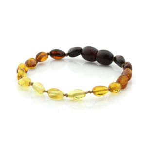 Baltic Amber Teething Bracelet. Olive Rainbow V2 5x4 mm