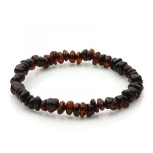 Adult Baltic Amber Bracelet. Round Flat Dark Cognac 5x3 mm