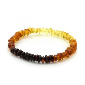 Adult Baltic Amber Bracelet. Round Flat Rainbow V2 5x3 mm