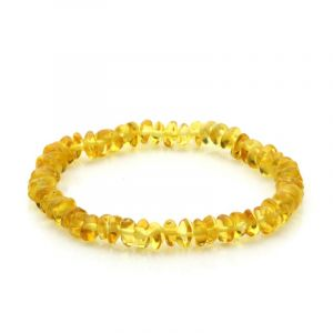 Adult Baltic Amber Bracelet. Round Flat Yellow 5x3 mm