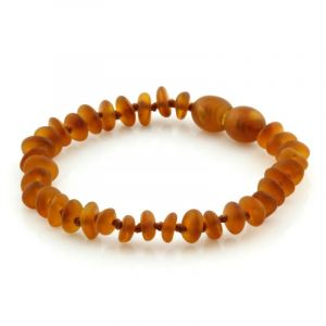 Semi Polished Baltic Amber Teething Bracelet. Round Flat Light Cognac Matt 5x2 mm