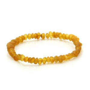 Adult Semi Polished Baltic Amber Bracelet. Baroque Light Cognac Matt 4x3 mm