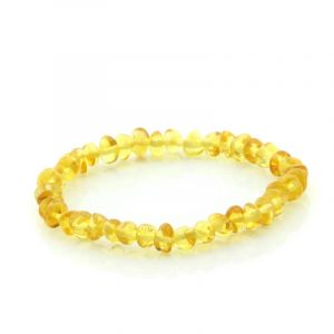 Adult Baltic Amber Bracelet. Baroque Yellow 5x4 mm