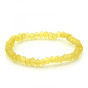 Adult Semi Polished Baltic Amber Bracelet. Baroque Yellow Matt 5x4 mm