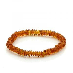 Adult Baltic Amber Bracelet. Round Flat Light Cognac 5x2 mm