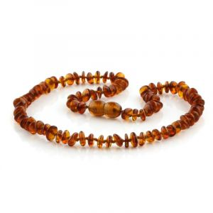 Baltic Amber Teething Necklace. Round Flat Cognac 5x2 mm