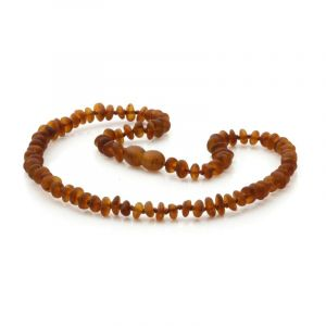 Semi Polished Baltic Amber Teething Necklace. Round Flat Cognac Matt 5x2 mm