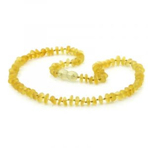 Semi Polished Baltic Amber Teething Necklace. Round Flat Yellow Matt 5x2 mm