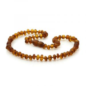 Semi Polished Baltic Amber Teething Necklace. Round Flat Cognac Matt 5x3 mm