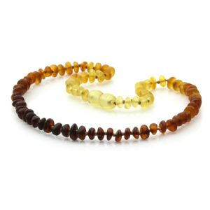Semi Polished Baltic Amber Teething Necklace. Round Flat Rainbow V1 Matt 5x3 mm