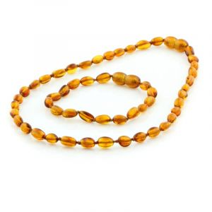 Baltic Amber Teething Necklace & Bracelet Set. Olive Cognac 5x4 mm
