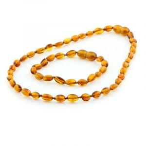 Baltic Amber Teething Necklace & Bracelet Set. Olive Cognac 5x4 mm