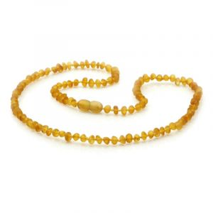 Adult Semi Polished Baltic Amber Necklace. Baroque Light Cognac Matt 4x3