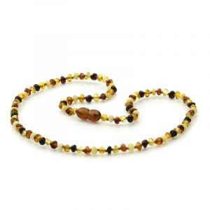 Adult Baltic Amber Necklace. Baroque Multicolor 4x3 mm