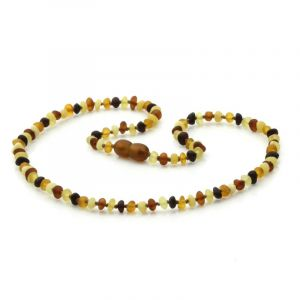 Adult Semi Polished Baltic Amber Necklace. Baroque Multicolor Matte 4x3 mm