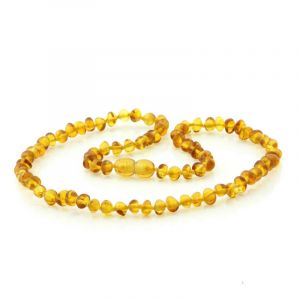 Adult Baltic Amber Necklace. Baroque Light Cognac 5x4 mm