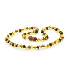 Adult Baltic Amber Necklace. Baroque Multicolor 5x4 mm