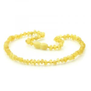 Baltic Amber Teething Necklace. Baroque Milky Yellow 4x3 mm
