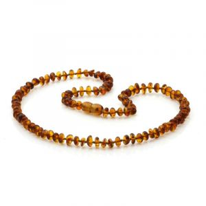 Adult Baltic Amber Necklace. Round Flat Cognac 5x3 mm