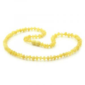 Adult Baltic Amber Necklace. Round Flat Milky Yellow 5x3 mm