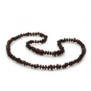 Adult Raw Baltic Amber Necklace. Round Flat Dark Cognac Rough 5x3 mm