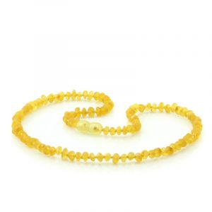 Adult Raw Baltic Amber Necklace. Round Flat Yellow Rough 5x3 mm