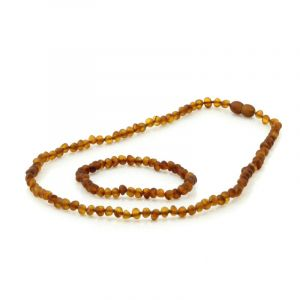 Adult Semi Polished Baltic Amber Necklace & Bracelet Set. Baroque Cognac 5x4 mm