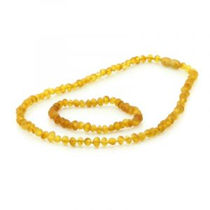 Adult Semi Polished Baltic Amber Necklace & Bracelet Set. Baroque Light Cognac 5x4 mm