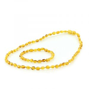 Adult Baltic Amber Necklace & Bracelet Set. Olive Light Cognac 5x4 mm