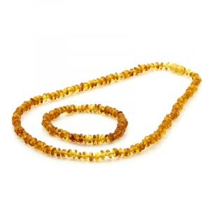 Adult Baltic Amber Necklace & Bracelet Set. Round Flat Light Cognac 5x3 mm